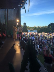 Lord Mayor's picnic crowd and stage