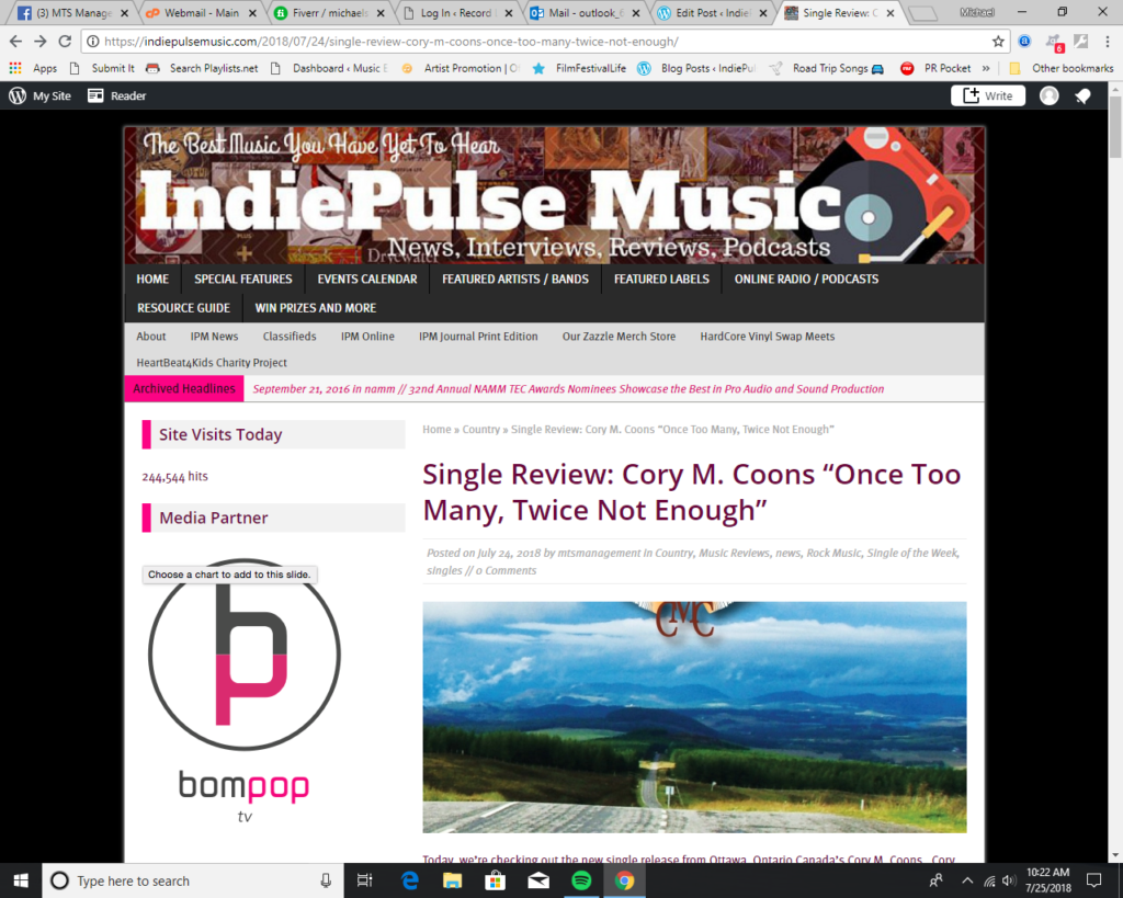 Indie Pulse Music Reviews Cory M  Coons' New Single | Record Label
