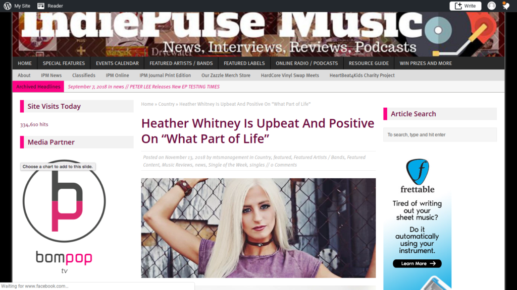 Indie Pulse Music Reviews Heather Whitney's Latest | Record Label