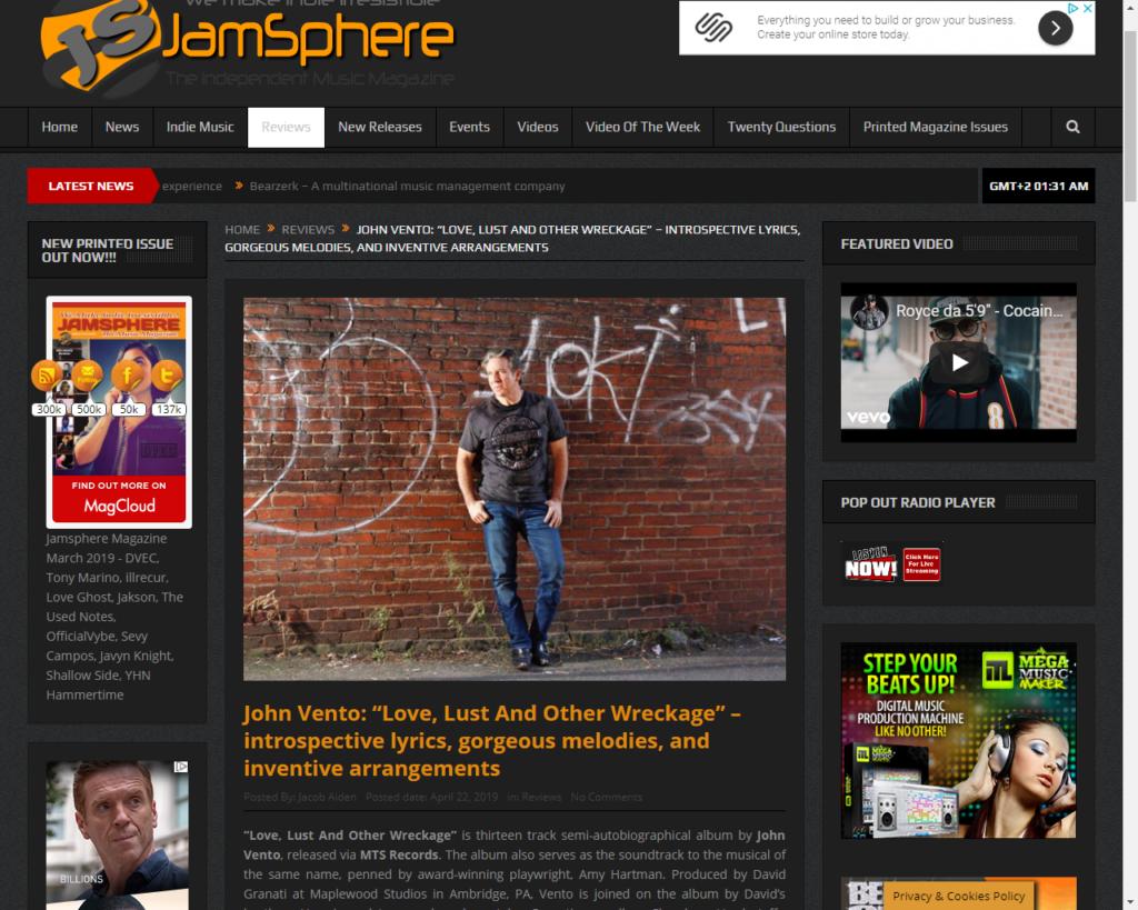 Jamsphere Magazine Reviews John Vento | Record Label, Artist